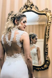 The back of the gown was decorated in lace. (Photo by Joseph Shkreli)