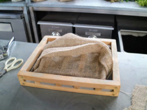 Here is the burlap covered frame ready for planting.