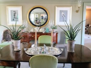 "I also walked them through my smaller ""bird"" dining room, and into the Green Parlor to see all the beautiful houseplants Ryan displayed the previous day."