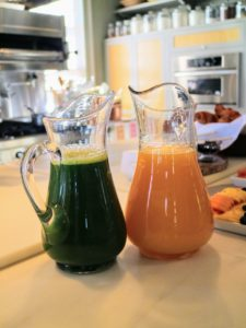 The green juice was made just before guests arrived. Laura makes a wonderful green juice filled with vegetables grown right here at the farm. I love having a healthy green juice every morning before leaving for work. We paired it with a pitcher of freshly squeezed orange juice.