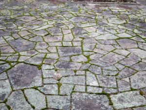 "The ""cracked ice"" stone pavers are still very visible on the main terrace - the calm before the storms."