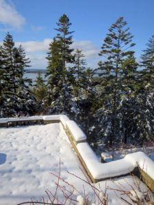 """The next day, the """"cracked ice"""" can't even be seen. On the right ledge, my long stone trough is covered with a protective box - almost unnoticeable under the accumulated snow. The planter is carved from a single block of granite. I purchased it from Trade Secrets in 2013."""