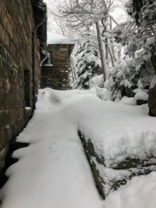 Despite all the beauty, it's a lot of snow to shovel around the house. These steps - yes there are steps here - run from the back porch to the front circle and driveway.
