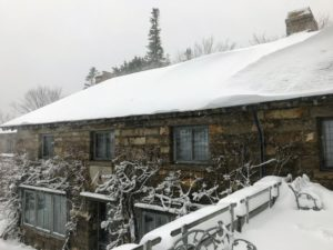 On the roof, you can see the snow drifts that accumulated - the strong winds blew the snow from one section to the next.
