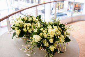 This arrangement includes lisianthus and pink jasmine. (Photo by BFA Photographer, Joe Schildhorn)