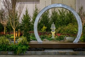 This is the 'Sakuteiki' exhibit by J. Downend Landscaping, Inc. This zen-like display was inspired by Japanese rock gardens. (Photo by Rob Cardillo for PHS)