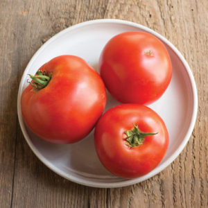 'Big Beef' are large, mostly blemish-free, globe-shaped red fruit. (Photo from Johnny's Selected Seeds)