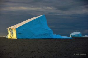 Here, Seth selected one iceberg in Bransfield Straits and waited for dramatic light to highlight it. It was also taken in 2005.