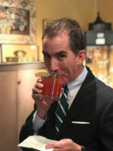 Here's a fun snapshot of Kevin enjoying a cocktail during the preview.