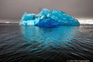 Here, John Paul showed the way the color of an intensely blue iceberg reflected color into its surroundings off Detaille Island.