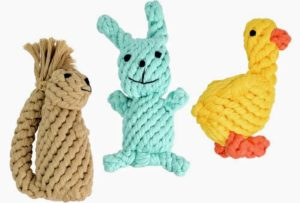 Some of the other toys include these fun rope animal figures. These toys are made from 100-percent natural heavy-duty cotton rope. In warm weather, you can dip them in water and freeze for teething or to cool down your pet.