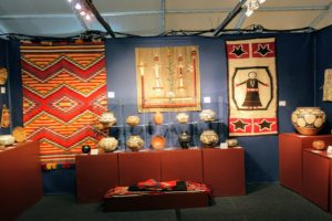These pieces are from Marcy Burns American Indian Arts LLC. Marcy specializes in antique Native American Art, focusing primarily on vintage baskets, pottery, textiles, beadwork and jewelry. It is always so interesting to learn about antiques and art pieces from the expert exhibitors.