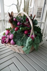 On one of my porch tables - an Easter basket from Kevin a few years back. Kevin gives me a gorgeous Easter basket every year. Did you see this year's gift basket? It is on my Instagram page @MarthaStewart48 and on Kevin's @seenbysharkey.