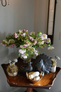 "And on this demilune in my foyer is another vase of fresh blooms - hellebores. The ""blooms"", which are actually sepals that protect the true flowers, last for several months, from February until May. These also came from the Dutch Flower Line because mine are still covered in snow."