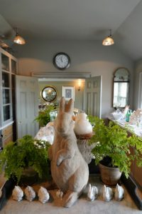 "This view is looking from the opposite side of my servery into the ""bird room"". The big rabbit is the same one I made for the April 2015 issue of MSLiving. http://www.marthastewart.com."