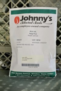 Many of our seeds come from Johnny's Selected Seeds. This is one of their new pea varieties, 'PLS 141'. This pea produces fancy four-inch pods and has a very good eating quality. http://www.johnnyseeds.com/