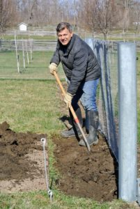 Fernando stopped for a quick photo while digging the trench for the trees.