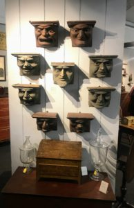 These were also very interesting wall pieces - each with a different face. These belong to Greg K. Kramer & Co., from Robesonia, Pennsylvania. Greg focuses his passion for antiques on 18th and 19th century Americana.