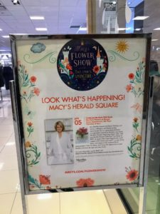 It was so nice to see the many signs posted all over Macy's announcing the event. Many visitors were also there to view the annual Macy's Flower Show.