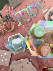 Here, you can see the iridescent paper plates and the matching chipboard tiered tray for displaying cupcakes, hors d'oeuvres and other treats. You can also get a box of letters to spell out any word or name you need.