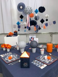 Another theme is called indigo, and includes lots of indigo blue colored supplies. All our themes in this collection come with a deluxe decor kit. These kits are perfect for embellishing any wall, or table. We created this to be a summer party table, but it can also be used for graduations - those are coming up soon!