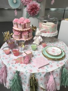 And this is the mint & blush themed party, with lots of pastel colors for the table - we set this one up as a baby shower.