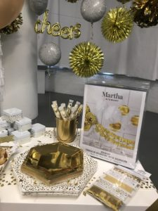 This selection of party supplies includes these elegant gold paper plates. The large ones are 10-and-a-half inches in diameter and come in a set of 10. The smaller ones are just over seven-inches across and also come in sets of 10.