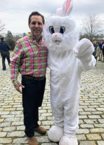 Here is the farm's property director, Fred, with the Easter Bunny.