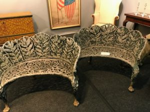 We all took photos of these interesting garden benches - we all loved their intricate design. These are cast-aluminum benches made around 1930. They feature acanthus leaf and griffin motifs.