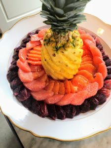 Pierre hand carved the pineapple and surrounded it with slices of grapefruit, orange, and blood orange.