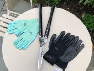 I also love these garden gloves. My gloves have a breathable style to keep your hands safe and clean. They also feature nitrile-coated palms for a handy, nonslip grip. My stainless steel hedge sheers come in black, mint and slate. They have rugged steel blades and lengthy hardwood handles that make it easy to get clean-cut edges on bushes and shrubs.
