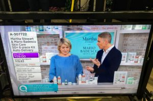 Here I am with QVC host, Alberti Popaj. We talked about several of my kits including this travel kit, which includes a rich olive oil body lotion, a cucumber & green tea facial spray, a vitamin-C serum, soap and an enzyme cleansing gel.