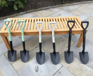These are my Mini Round Point Digging Shovels. They come in sets of two in black, mint or slate. They are made of powder coated solid steel and are great for gardening, camping, and even off-roading. I love the short handle - it provides leverage for lifting even while kneeling.