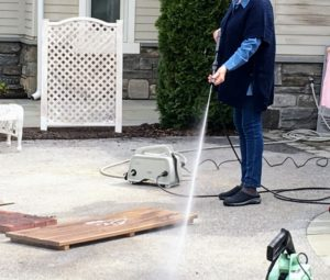 I also demonstrated how to use my 1200 PSI Pressure Washer with Adjustable Spray Wand. It's powerful, convenient, lightweight, and so easy to use.