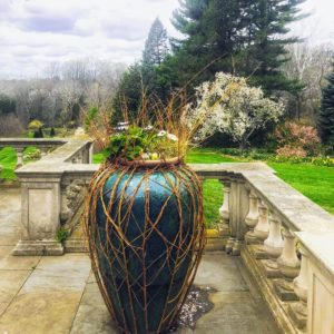 Here is the Chanticleer Terrace Overlook at the main house and another willow stems woven container.