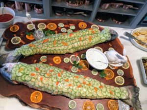 We also had two giant salmon covered in cucumber slices, bunny carrots and served with a dill sauce. The salmon came from True North, one of my favorite sources for fish. http://www.truenorthseafood.com