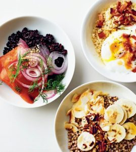 "Other recipes in ""Newlywed Kitchen"" include our breakfast grain bowls – a fun new take on traditional oatmeal. Use any cooked whole grain and top with sweet or savory ingredients such as bacon and egg, black rice with smoked salmon or banana, coconut and pecans."
