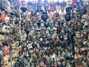 At another market, the couple saw these tribal masks for sale - each has a different meaning. Some were meant to ward off evil, while others were made to invite good fortune for the one wearing it.