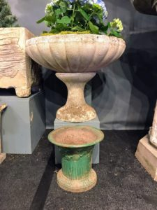 I admired this decorative antique planter made from stone...