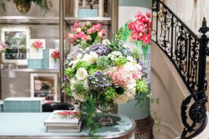 Kevin planned all the floral arrangements with the Ralph Lauren team - this one with tulips, hydrangeas and fritillaria. (Photo by Neil Rasmus/BFA.com)