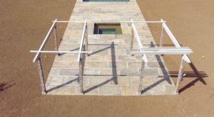 Fred took another drone shot to show the frame of the new pergola. It sits right behind the spa.