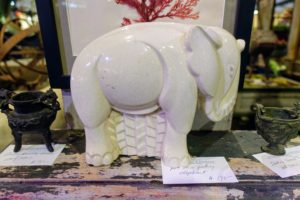Here is a porcelain elephant displayed by Bob Withington & Company. Bob Withington has been a fine source of garden and other antiques for years. His shop used to be in York, Maine, but now he is located in Portsmouth, New Hampshire. I wrote about him on my blog several years ago. http://www.themarthablog.com/2009/07/stopping-at-withington-antiques-in-york-maine.html http://www.withingtonandcompanyantiques.com