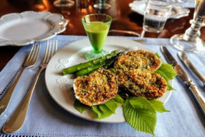 Here is our oysters Rockefeller plated with baked asparagus from my garden and asparagus soup - everything was so tasty.