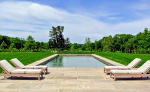 Here's a closer look at the pool all finished. I wanted this view to be unobstructed, so we could see the beautiful boxwood allee and the stunning landscape beyond.