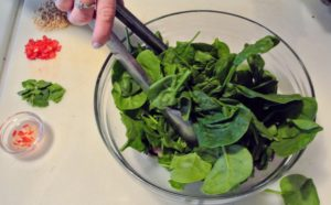 And the fresh spinach is plated.