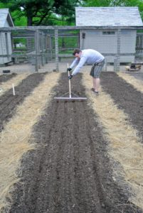Ryan uses this bed preparation rake from Johnny's Selected Seeds to create furrows in the soil. Hard plastic tubes slide onto selected teeth of the rake to mark the rows.