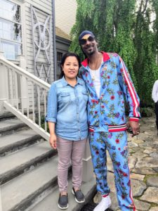 After lunch, Snoop stopped for a quick photo with my housekeeper, Sanu.