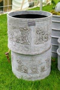 The distinctive pots of Pennoyer Newman were also at this year's Trade Secrets sale - I love these pots. They are containers that have been cast from estate originals. They're made of pummeled stone and marble blended with resin, which help make them so lightweight. http://www.pennoyernewman.com