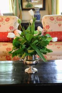 These tulips looked so pretty on the coffee table.