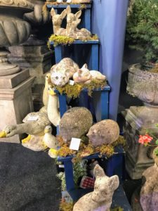 There were also many casual and whimsical pieces, such as these smaller stone garden animal ornaments - displayed in complimentary pairs.